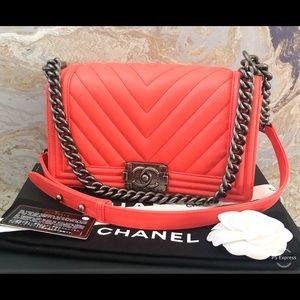 Chanel Chevron Boy Medium Lambskin Chain Flap Bag